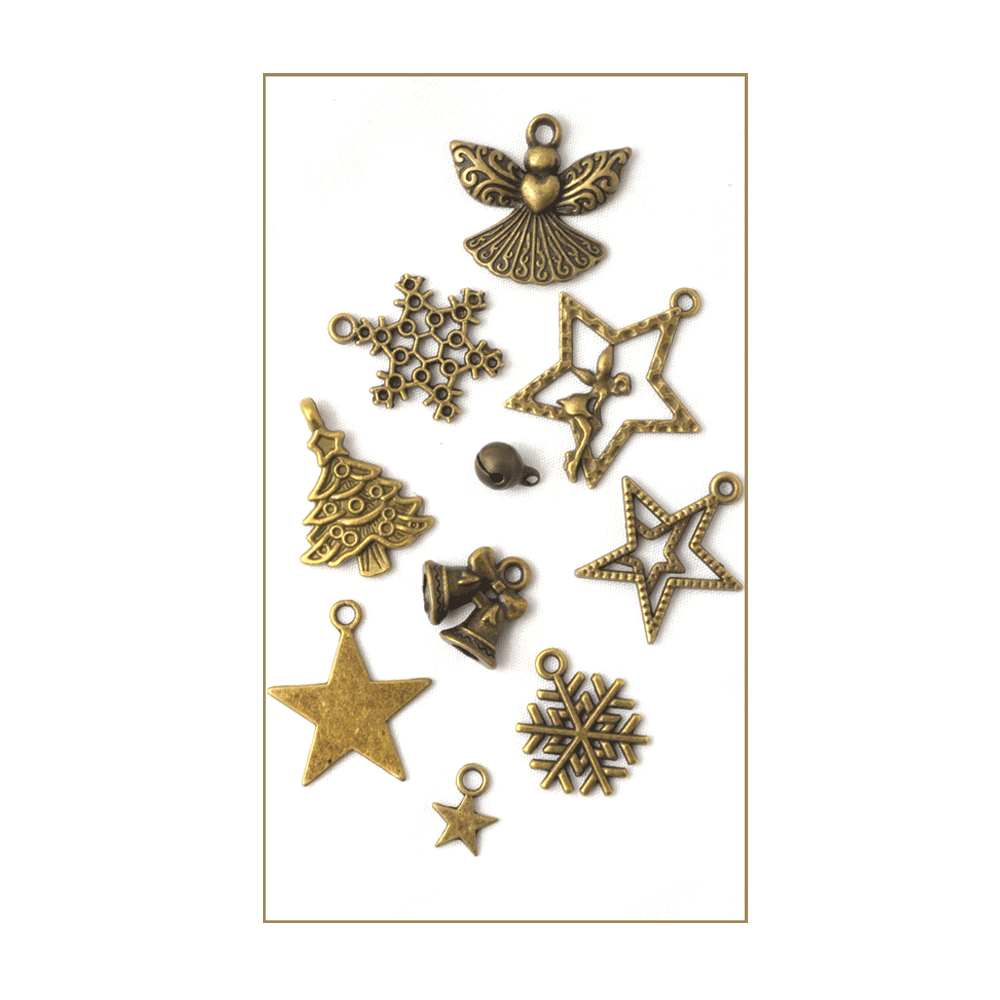 must haves 10 bronze gold christmas charms up to 25mm x 30mm - Christmas Must Haves